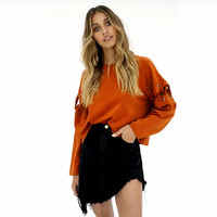 2017 New Autumn Women Casual Solid O Neck Bandge Sleeve Blouse Orange Long Sleeve Tops Camisas