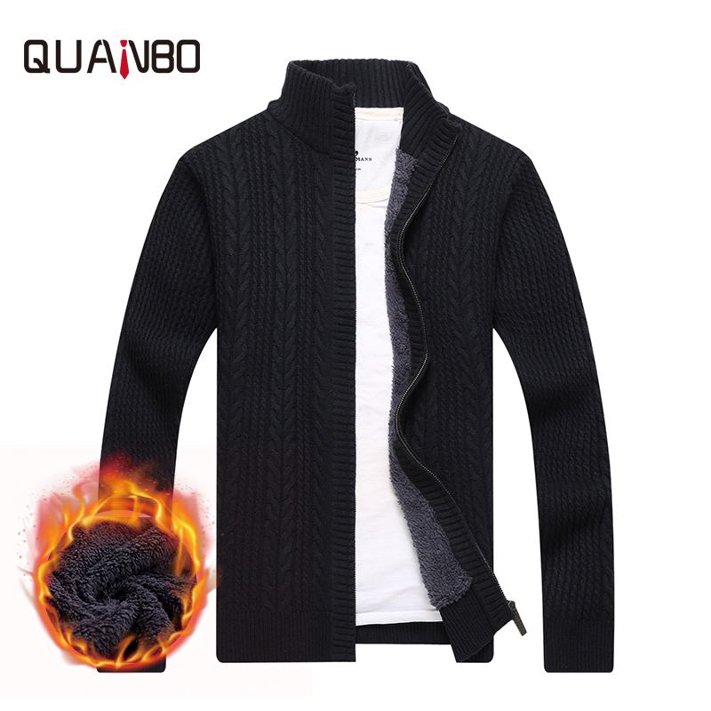QUANBO 2018 Brand Clothing Autumn Winter Flleece Warm Male Sweaters Fashion Twist Knitted Zipper Top Quality Cardigan
