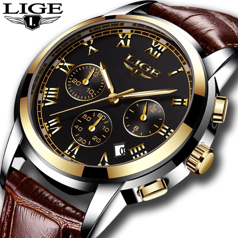 5cb55273e5c9 En este momento los hombres reloj superior de la marca de lujo de cuero  Casual relojes de cuarzo militar los hombres deporte impermeable reloj de  oro ...