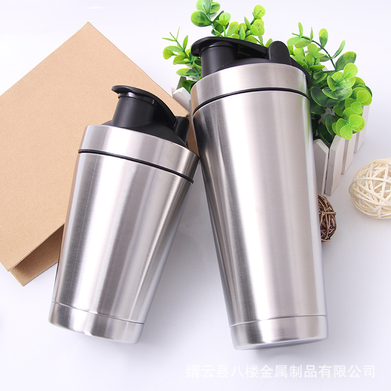 Stainless Steel Sports Nutrition Protein Shaker Bottle with Stirred Ball Whey Protein Shaker Easy-clean 720/500ml Mixer Fitness