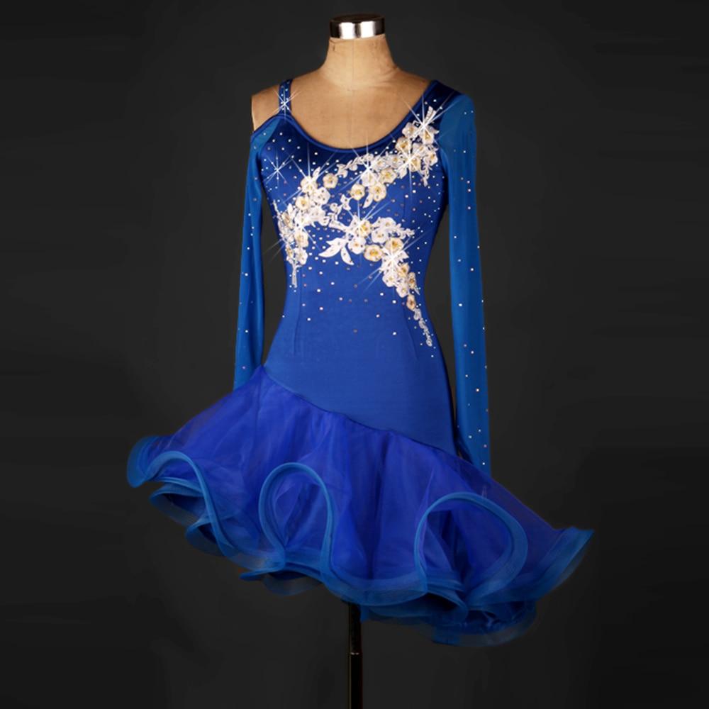 2017 Women Lady Latin Dance Dress Royal Organza&Gauze Salsa Vestidos De Baile Latino Samba Flamenco Sexy Plus Size Club Dress