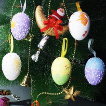 6Pcs/Pack Creative Foam Easter Painting Eggs Spring Easter Crafts Hanging Pendant Ornament Home Garden DIY Decorating Supplies