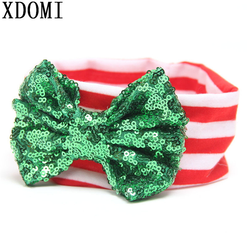 Hot Sale Christmas Kids Hairbands For Girls And Baby Big Messy Sequin Bow Striped Headband Children Christmas Hair Accessories diy lovely baby big bow plaid headwrap for kids bowknot hair accessories children cotton headband girls gifts