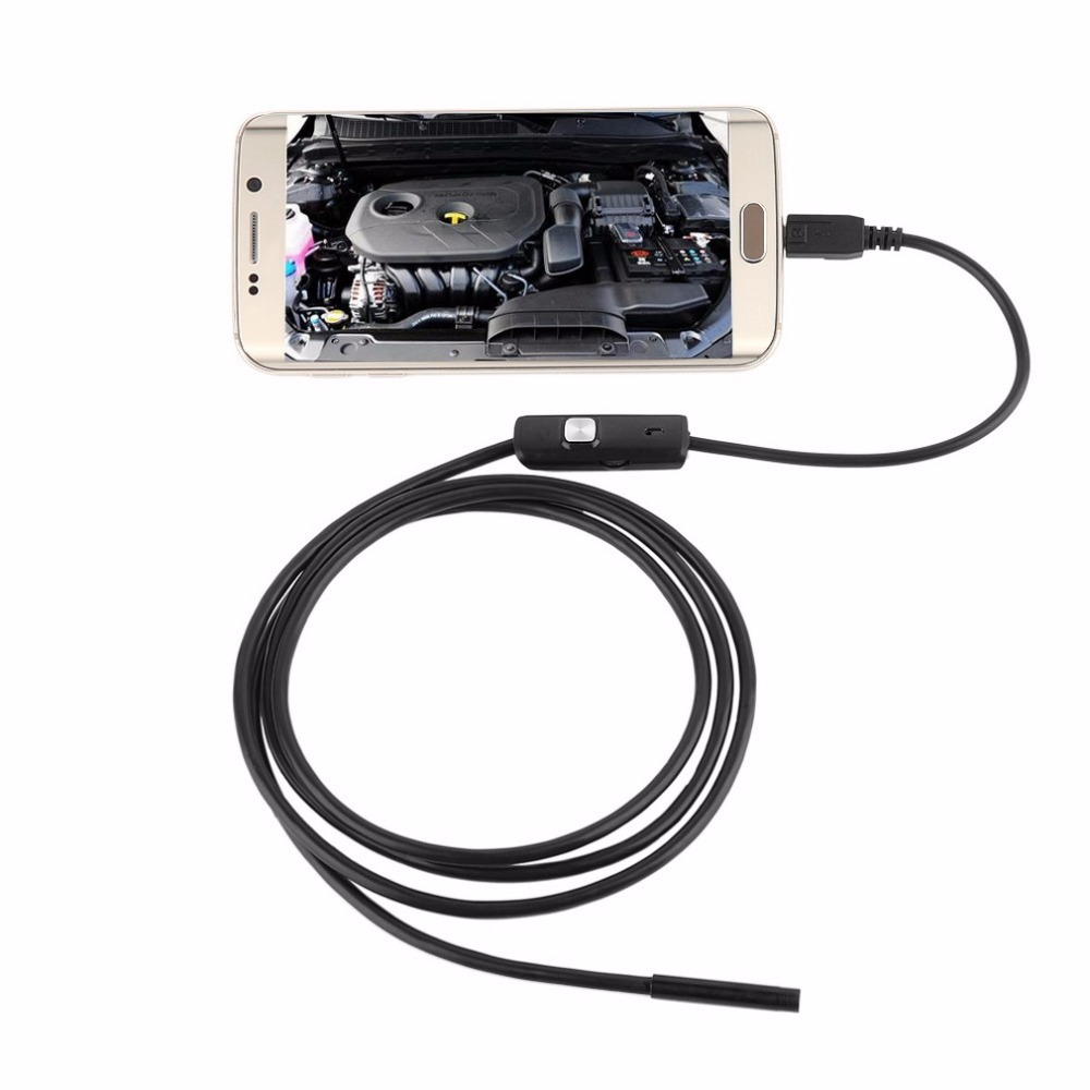 LESHP 6 LED 7mm Lens Cable Waterproof Mini USB Inspection Borescope Camera For Android Endoscope 640*480 Phones/1280*720 PC
