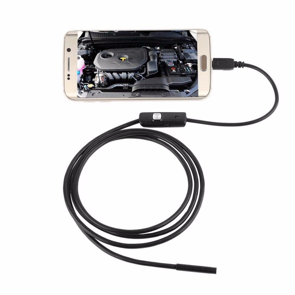 LESHP 6 LED 7mm Lente Impermeabile Cavo Mini Endoscopio USB Ispezione Fotocamera Periscopio Per Android 640*480 Telefoni/1280*720 PC
