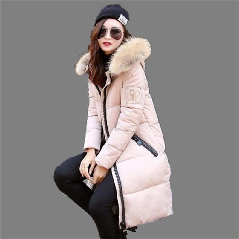2016 New Winter Jacket Long Coat Women Cotton Jacket Thicken Coat Fur Collar Hooded Down Coat
