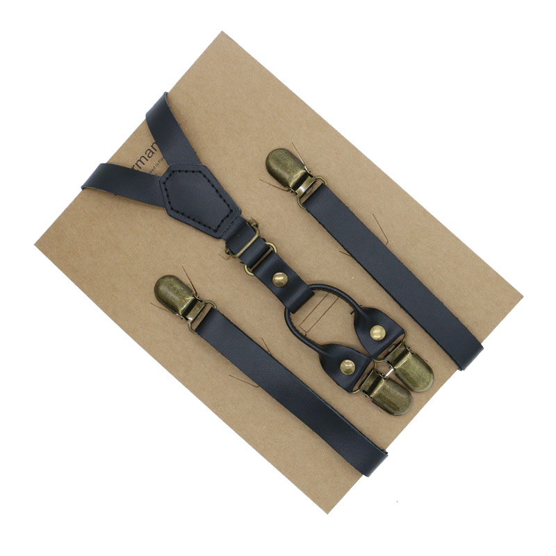1.5cm Width Real Leather Ultra Thin Mens Party Casual Dress Suspenders Gentleman Belt Krafted Paper Packed Adult