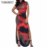 2017 High-Cut Lange Tie Dye Dashiki Afrikanischen Print Kleid Für frauen Aushöhlen Zurück Muster Vintage Sommer Lang Maxi Kleid EF0852
