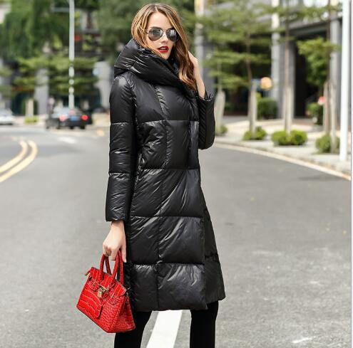 Hooded   Down     Coat   Winter Women Fashion Long Style Slim Fit   Down   Jacket Outwear Female Casual Thickening Warm Oversize ParkaFR3028