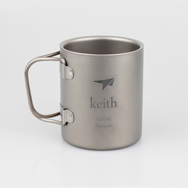 Keith 220ml Titanium Cup Mug Double-wall Vacuum Thermal Insulation Water Cup Outdoor Camping Traving Ultralight 83g KS813
