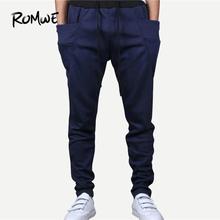 ROMWE Men Drawstring Waist Solid Tapered Joggers 2019 Hottest Streetwear Mid Waist Men Pants Spring Autumn