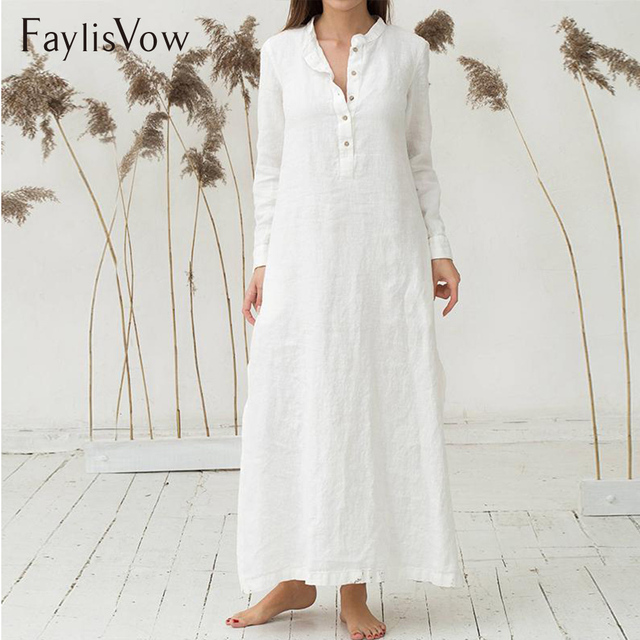 b2efb37654e Loose Stand Collar Plus Size Maxi Dress Autumn Cotton White Blue Long Sleeve  Split Side Button