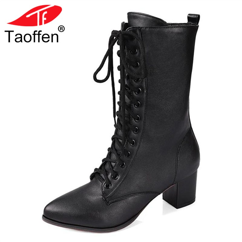 TAOFFEN Women High Heels Boots Shoes Lace Up Fur Winter Mid Calf Boots High Heels Riding Boots Women Fashion Shoes Size 32-42 mary yanxi new fashion high heels women boots lace up pointed toe shoes mid calf worm boots thin heels elegant shoes big size43