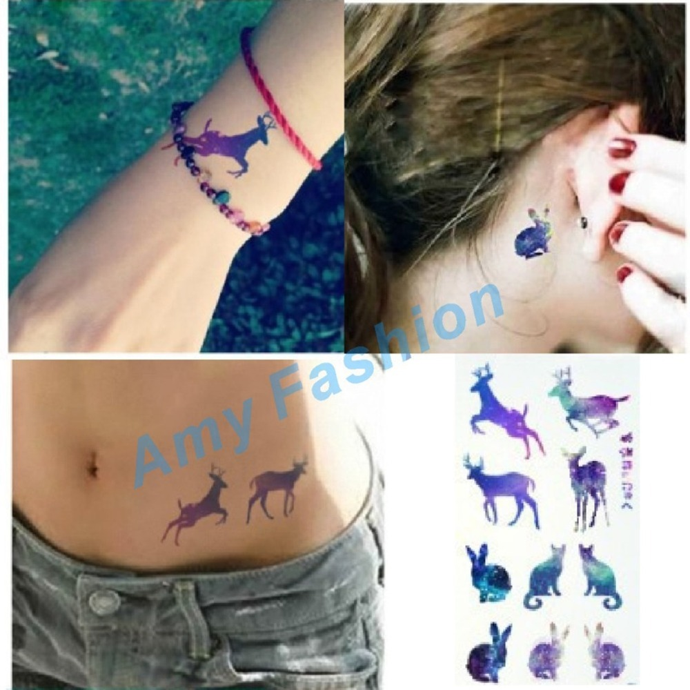 fashion harajuku gradient rabbit deer disposable tattoo stickers waterproof male and female. Black Bedroom Furniture Sets. Home Design Ideas