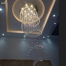 D80 * H250cm moderna Gran Vestíbulo Larga Espiral de Cristal Lámparas de Araña Colgando de La Lámpara de La Escalera Larga para Proyecto Hotelero