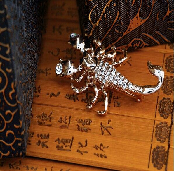 Hesiod Fashion Jewelry Wholesale Crystal Brooch Pin Vivid Scorpion Rhinestone Collar Brooches Dress Decoration 6