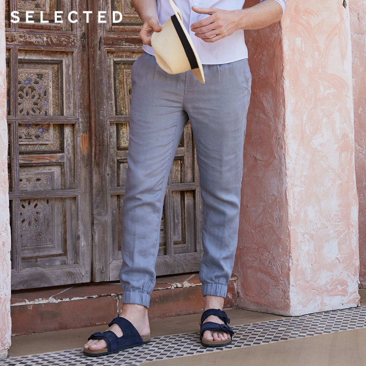 SELECTED Loose Fit Pure Color Linen Casual Pants S|419214523