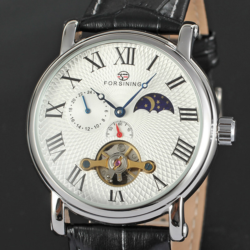 FORSINING brand watches Rome Leisure Moon phase mechanical Fully automatic Watch men and women Lovers waterproof Genuine Leather