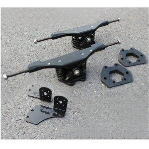 Image 1 - 2pcs 11 인치 전기 스케이트 보드 트럭 알루미늄 가스 켓 모터 가스 켓 트럭 전기 스케이트 보드 다리 Riserpad 긴 보드 다리