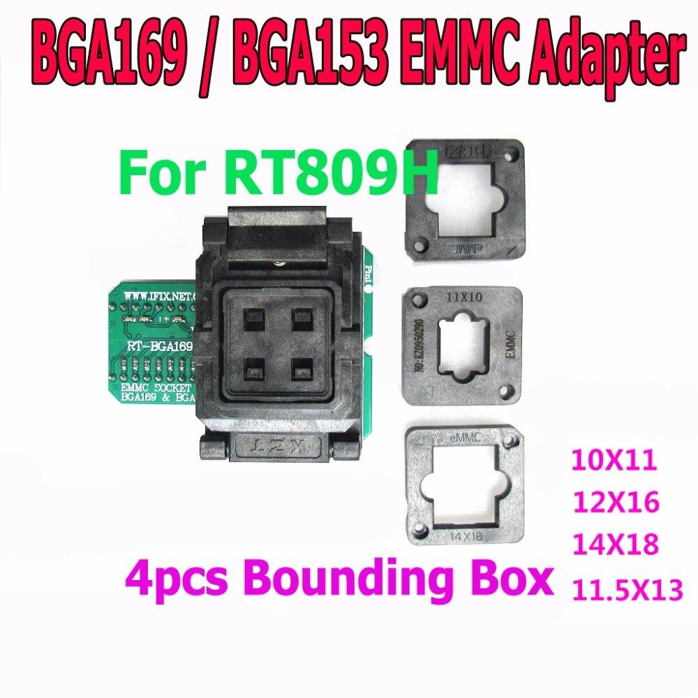 BGA169 BGA153 EMMC BGA169 01 Socket Adapter With 4 pcs BGA bounding box For RT809H Programmer