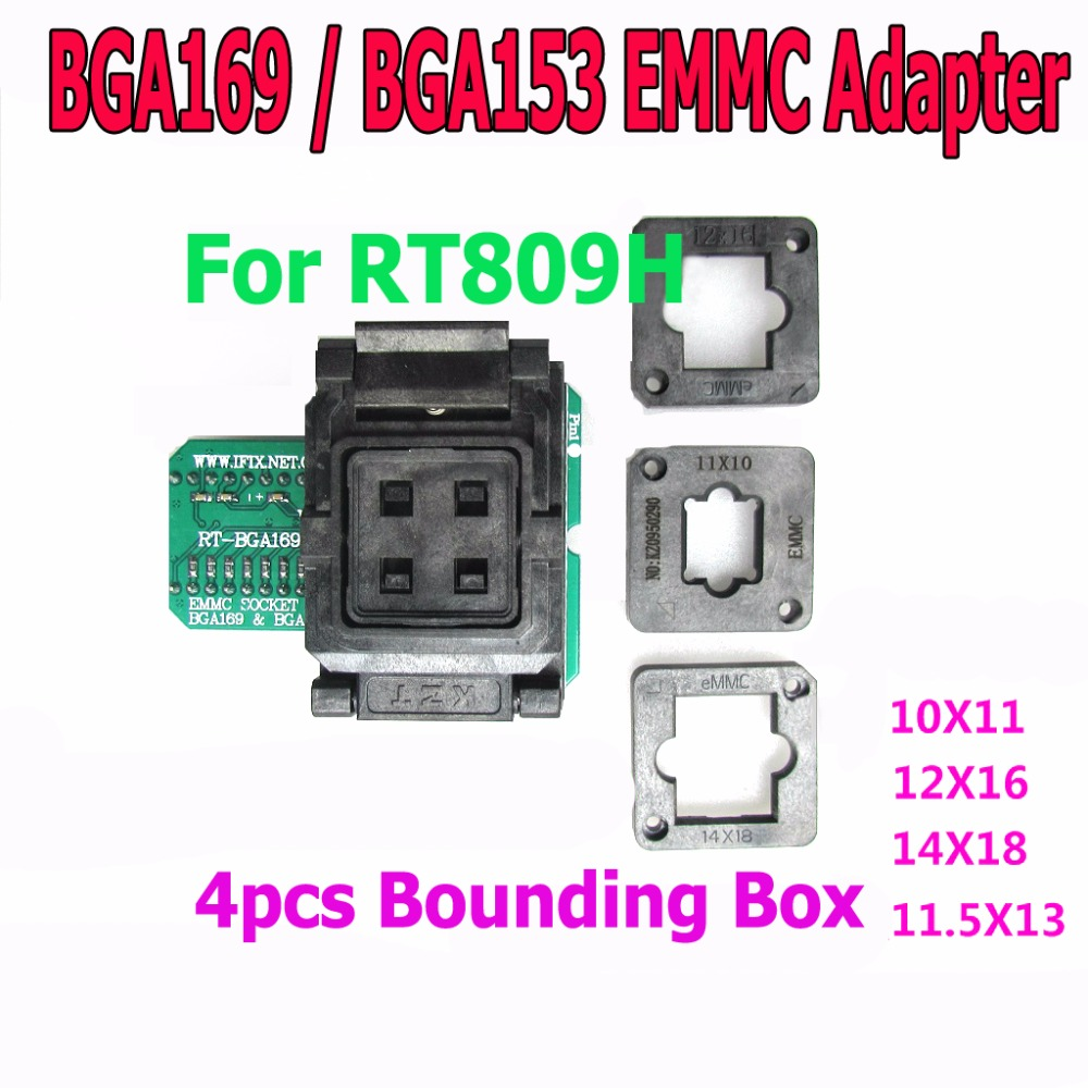 <font><b>BGA169</b></font> / BGA153 EMMC <font><b>BGA169</b></font>-01 <font><b>Socket</b></font> Adapter With 4 pcs BGA bounding box For RT809H Programmer image