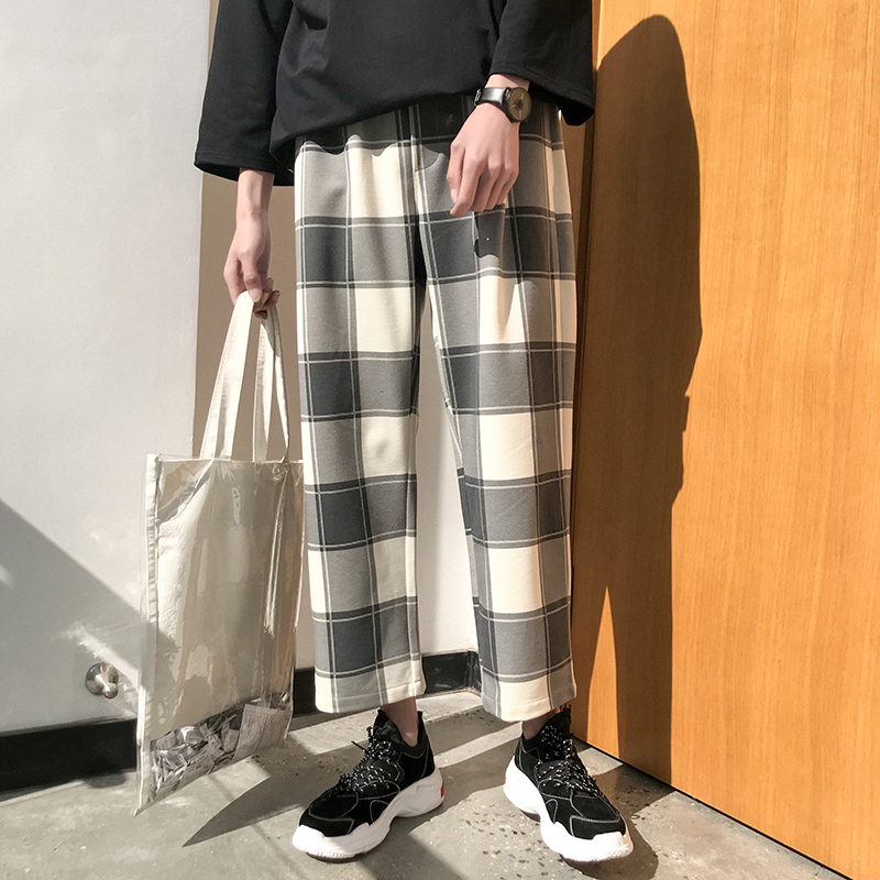 2018 Spring And Summer New Japanese Youth Popular Street Wind Large Lattice Printed Wide Leg Like-minded Nine Pants Loose