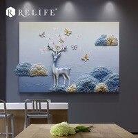 Top Selling Resin Deer Carved Wall Art Handpainted Nordic Paintings for Dining Room
