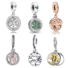 Family Tree of Life Tulip Dangle Charm Beads Fit Original Pandora Bracelet & Necklace DIY Authentic Women Jewelry