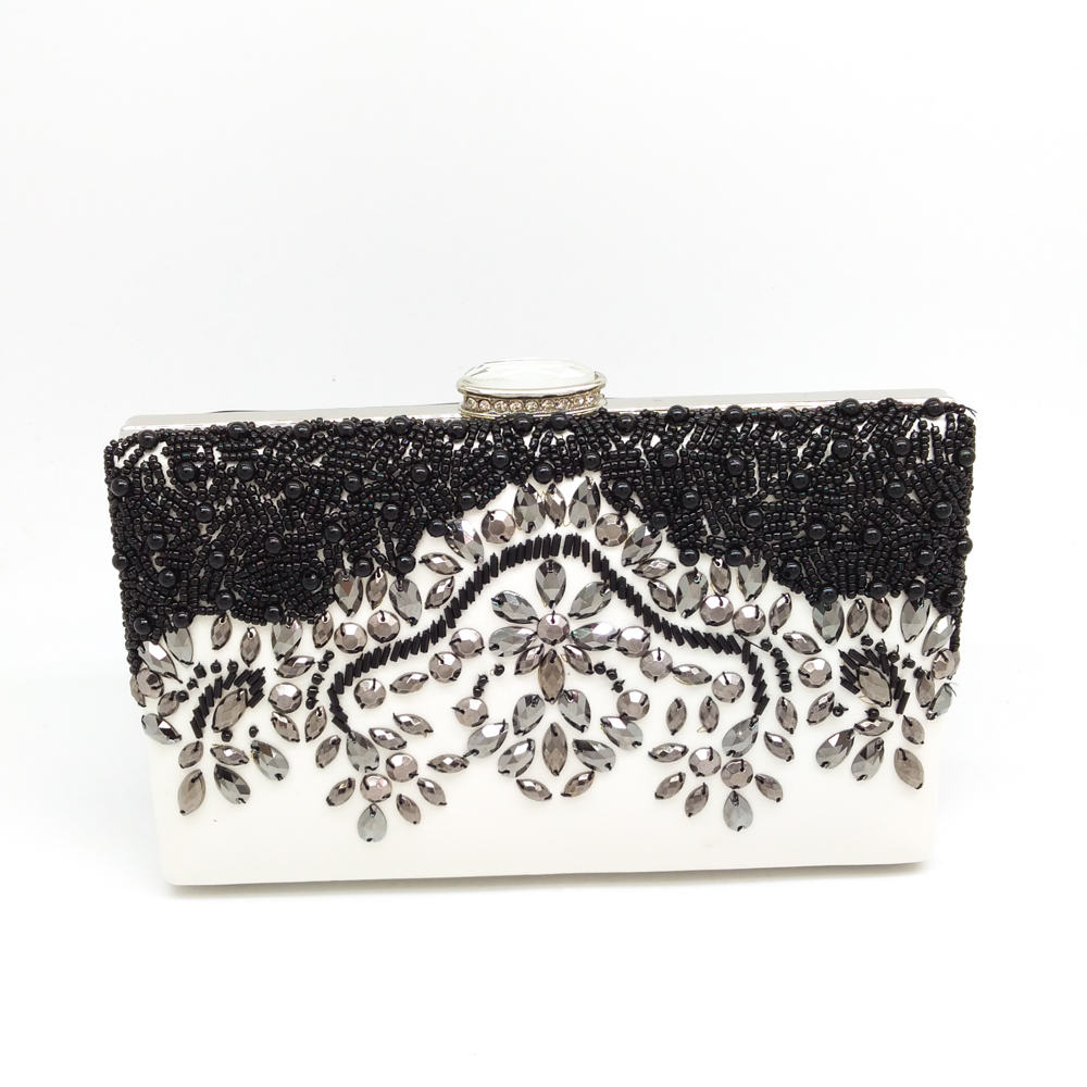 Elegant Women Cocktail Dinner Wedding Bridal Black & Silver Beaded Diamond Shoulder Handbag Metal Clutch Bag Ladies Evening Bags