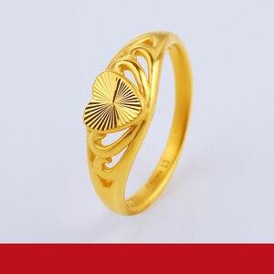 Image 3 - JLZB 24K czystego złota pierścień prawdziwe AU 999 czyste złoto pierścionki eleganckie błyszczące serce piękne ekskluzywne Trendy biżuteria Hot sprzedam nowy 2020