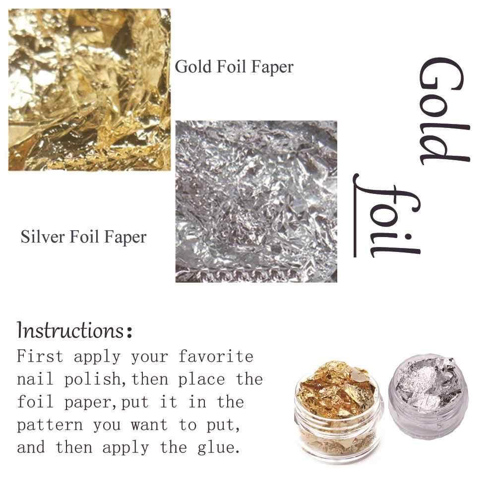 Mizhse Pailletten Onregelmatige Nail Poeder Decoratie Sliver Goud Vlokken Folie Voor Nagels Manicure Diy Laser Sticker Nail Decoracione