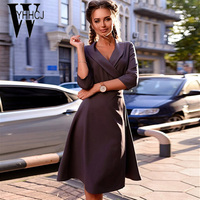 WYHHCJ 2017 New Autumn And Winter Dress Deep Turn Down Collar Three Quarter Women Dresses Sashes