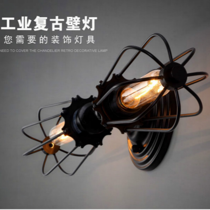 Loft Industrial 2 lights iron rust Water pipe retro wall lamp Vintage e27 sconce lights for living room bedroom restaurant bar steampunk loft 4 color iron water pipe retro wall lamp vintage e27 e26 sconce lights for living room bedroom restaurant bar