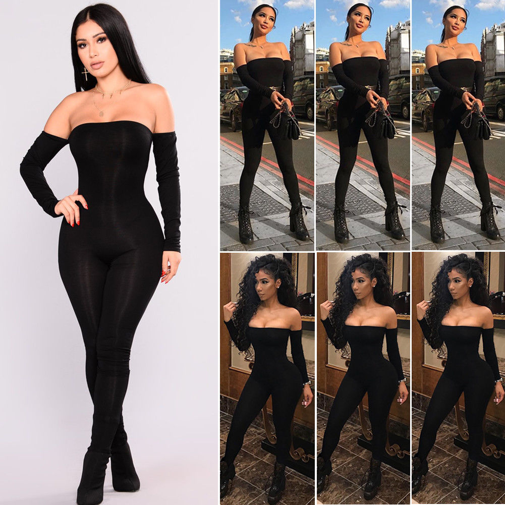 Hirigin Romper Bodysuit Womens Fall Off Shoulder Clubwear Playsuit Bodycon Party Jumpsuit Romper Trousers Sexy Jumpsuit