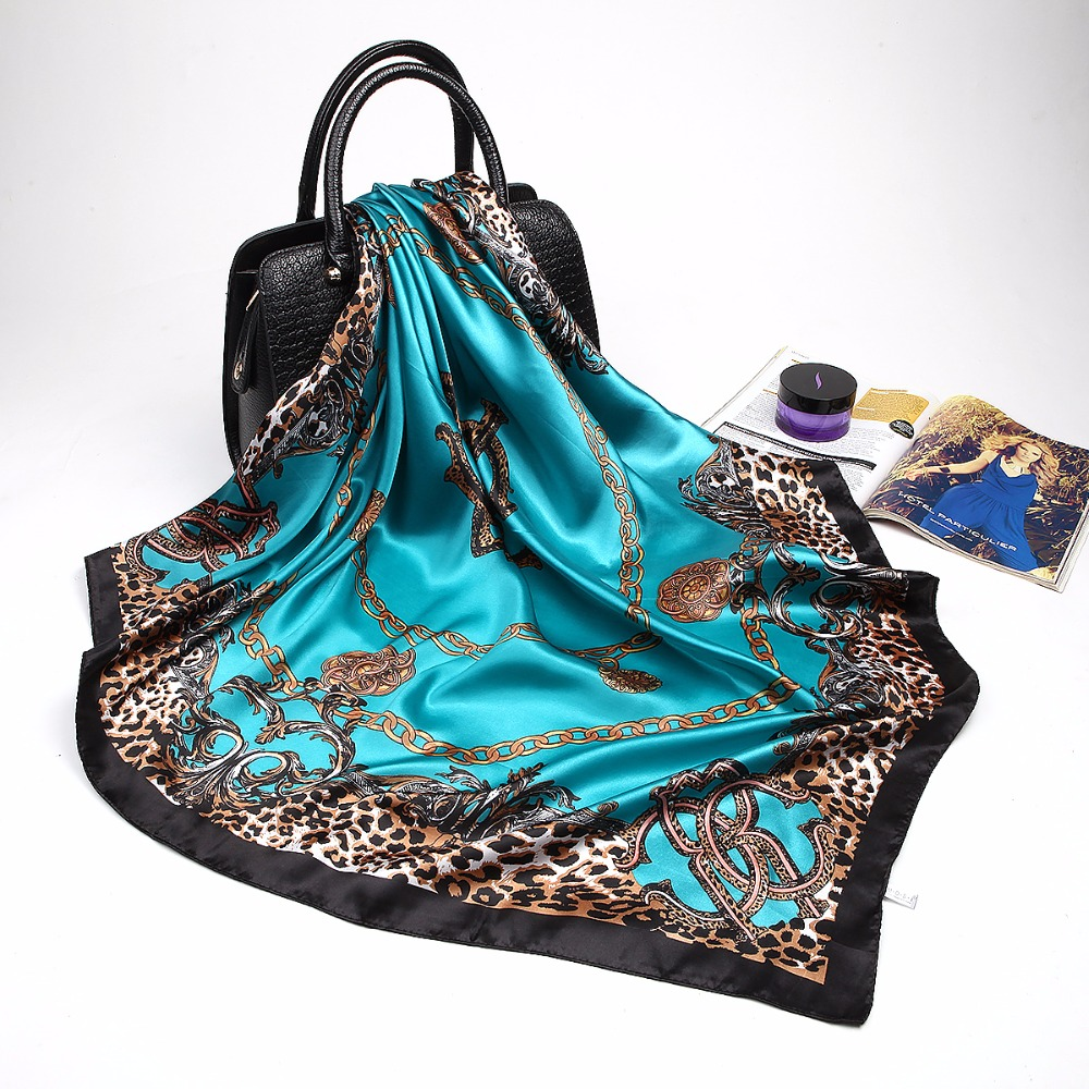 Fashion Scarves For Women Shawl Print Silk Satin Hijab Scarf Female Bandana 90*90cm Luxury Brand Square Shawls Scarfs For Ladies