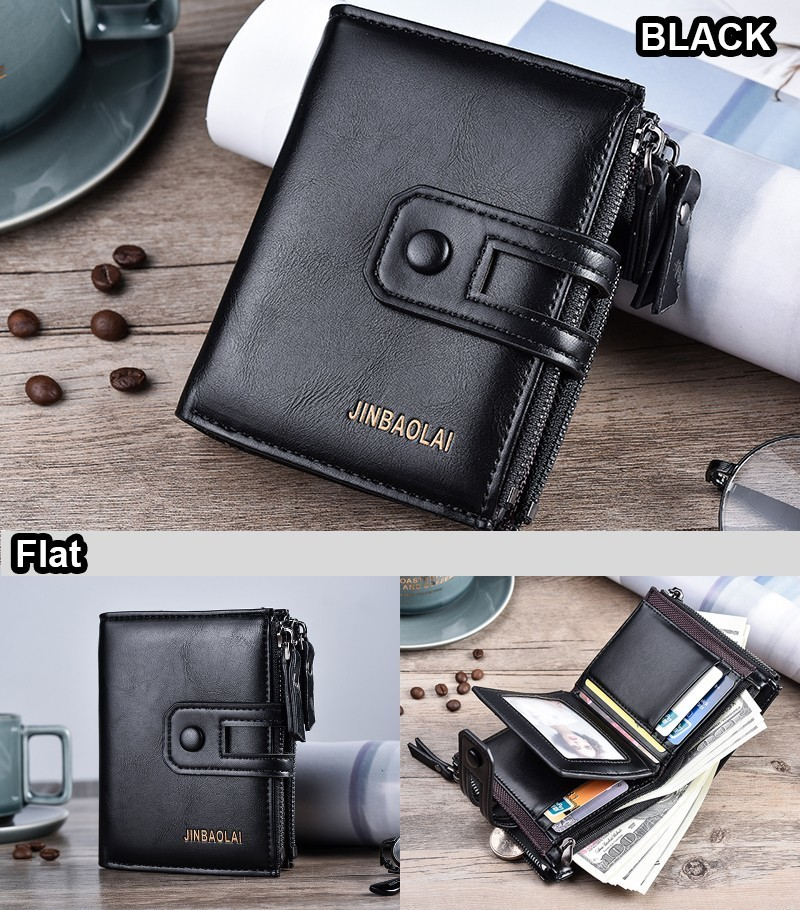 JINBAOLAI Double Zipper Men Wallet