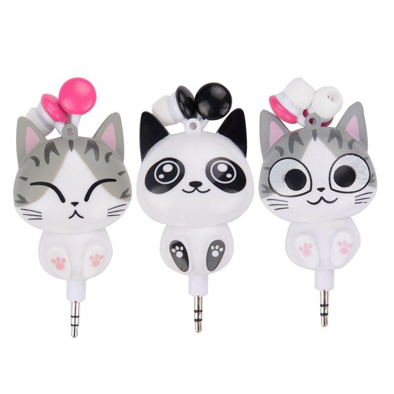 New 3.5mm Wired Earphone Cute Cartoon Cat Retractable Headset Universal Earphone For IPhone Samsung Mobile Phone Earphone