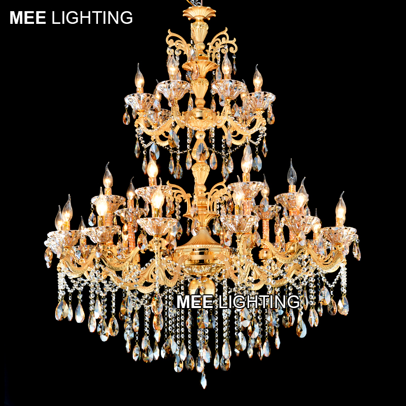 Large 3 tiers Gold Crystal Chandelier Lighting Big Cristal Lustres Light Fixture 28 Arms Chandelier Crystal for Hotel MD2117
