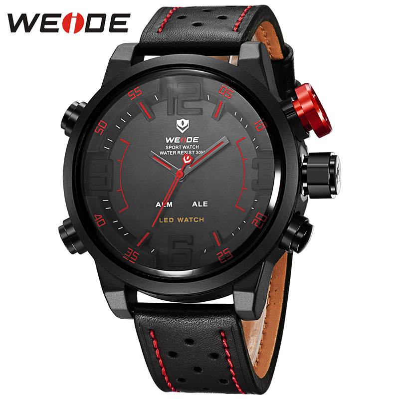 WEIDE NEW Luxury Brand Men Sport Watches Men's Quartz Clock Man Army Military Leather Wrist Watch Date Display Relogio Masculino weide army watches men s steel business luxury brand quartz military sport watch analog digital display wristwatch sale items