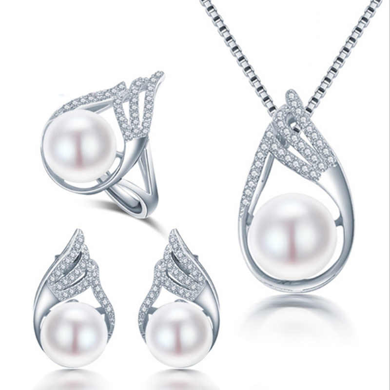 2017 Hot Rocket Necklace Earring Ring Pearl Jewelry Set For