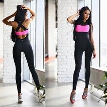 One Piece Yoga Jumpsuit Patchwork Gym Clothes Women Clothing Training Set Halter Long Pants Yoga Set Mujer Sport Suits Femme