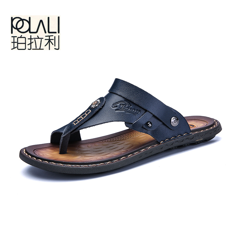 Image 3 - POLALI Men Sandals Genuine Split Leather Men Beach Sandals Brand Men Casual Shoes Flip Flops Men Slippers Sneakers Summer Shoes-in Men's Sandals from Shoes