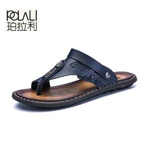 Image 3 - POLALI męskie sandały oryginalne skórzane męskie sandały plażowe marki męskie obuwie klapki kapcie męskie trampki letnie buty