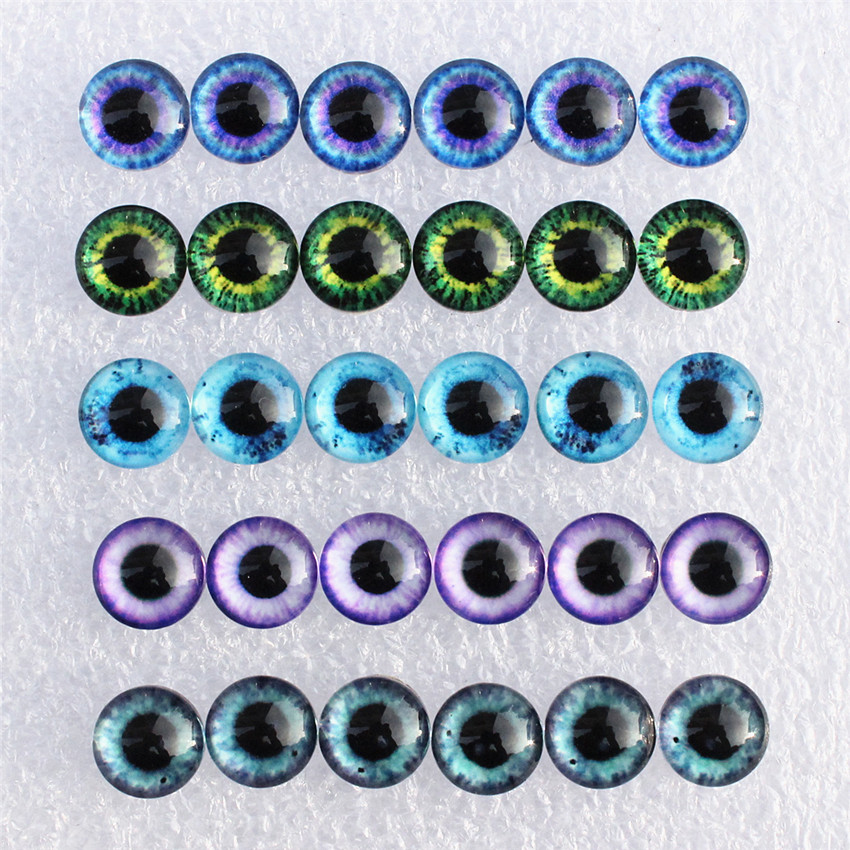 8 10 12 14 16 18 20 25mm  Mixed With 5 Different Dragon Eyes Pairs Pattern Glass Cabochon Flatback Photo DIY Making Accessories