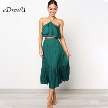 Women Hot Two Piece Dress Sexy Ruffle Crop Top Pleated A Line Holiday Daily Teal Black Dance eDressU CLX-101149