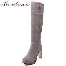 Meotina Winter Knee High Boots Women Boots Zipper Platform Thick Heel Long Boots Super High Heel Shoes Ladies Autumn Big Size 43 sorbern white platform shoes knee high boots for women wedge high heel ladies shoes booties womens shoes custom colors big size