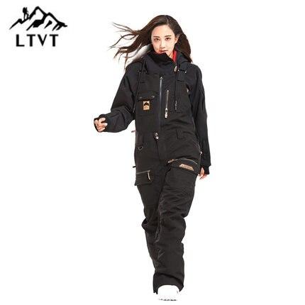 LTVT Unique Conseil Femelle Double Snowboard Bavoir Imperméable Noir Ski Hiver Ski Intérieur Ski Bretelles Nouvelle Neige Femmes Ski Pantalon