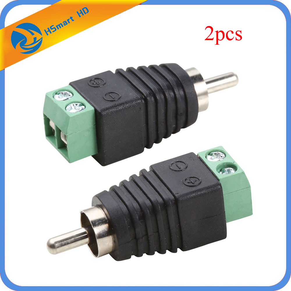 Hot 2PCS Phono RCA Male Plug To AV Screw Terminal For CCTV AV Adapter Jack Balun for Camera Accessories DVR CCTV System 3pcs lot cctv phono rca male plug to av terminal connector video av balun international standard