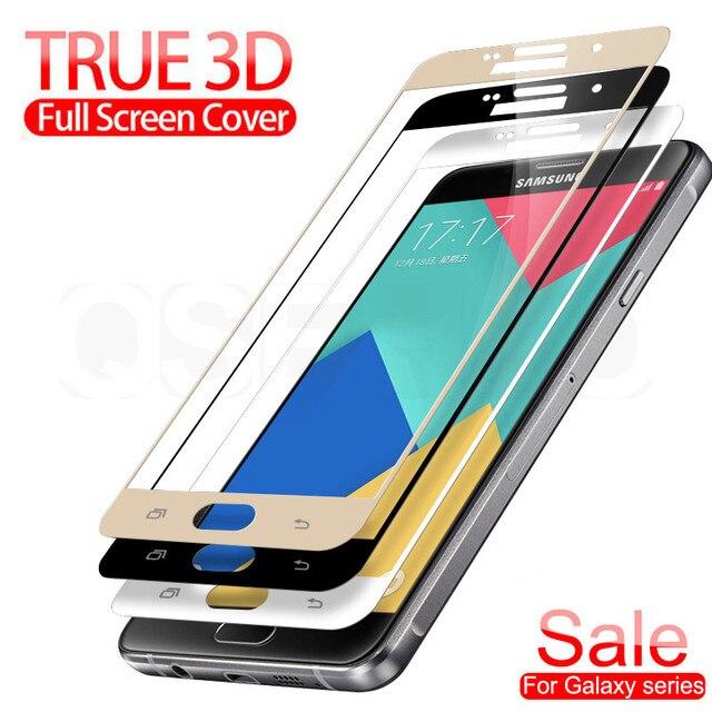 Verre de Protection 3D sur le pour samsung galaxy A3 A5 A7 J3 J5 J7 2016 2017 S7 Film de Protection en verre trempé protecteur d'écran
