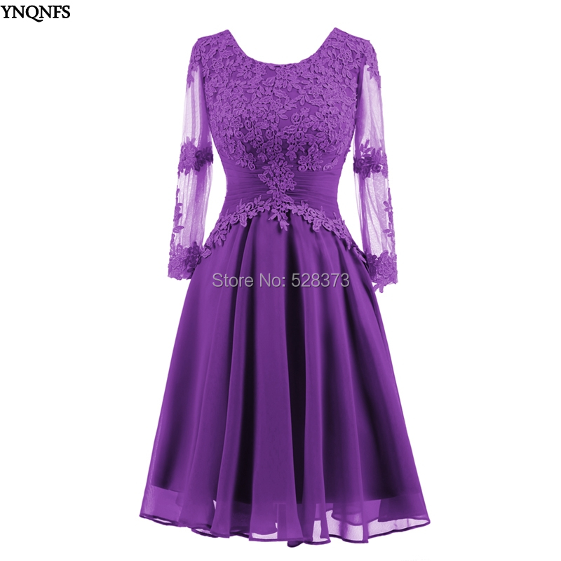 989052368d2c YNQNFS BD85 Real Guest Dress Chiffon Long Sleeves Short Bridesmaid Dresses  Purple Lilac Blue